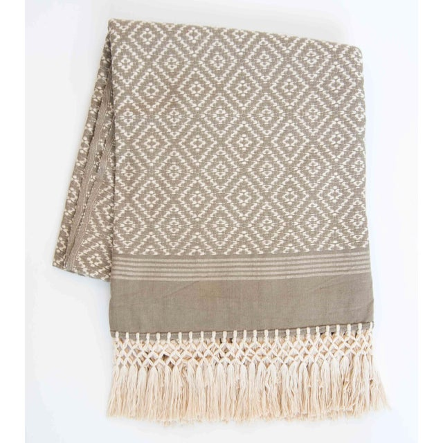 Taupe & Cream Handwoven Mexican Throw - Image 2 of 4