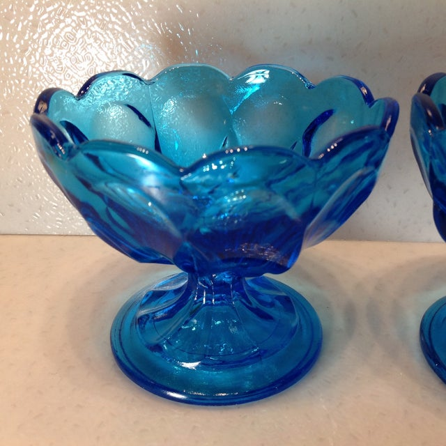 Vintage Blue Glass Pedestal Bowls - A Pair - Image 6 of 10