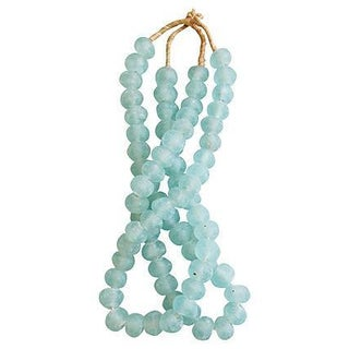 Icy Blue Jumbo Sea Glass Bead Strands - A Pair