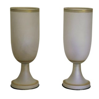 Vintage Opaque Glass Lamps - a Pair