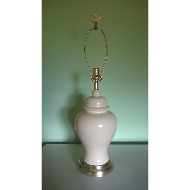 Image of Oriental Chinoiserie Cream Ginger Jar Lamp