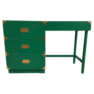Drexel Campaign Style Lacquered Kelly Green Desk