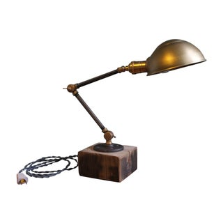 Brass Hood and Hinges Desk Lamp