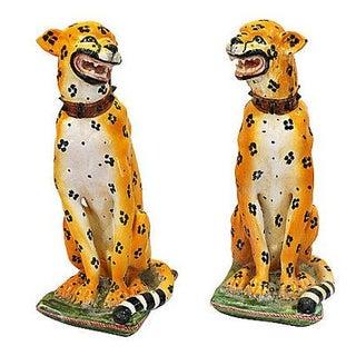 Mid-Century Italian Ceramic Cheetah Statues - Pair