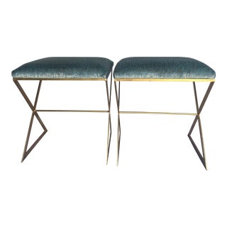 "A Pair of Worlds Away ""X"" Upholstered Side Benches"