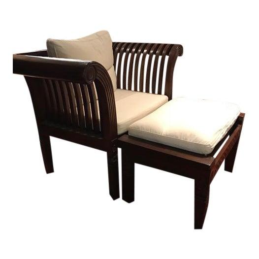 Ottomans Ornate Mahogany Ottoman: Hand-Carved Mahogany Wood Chair & Ottoman - A Pair