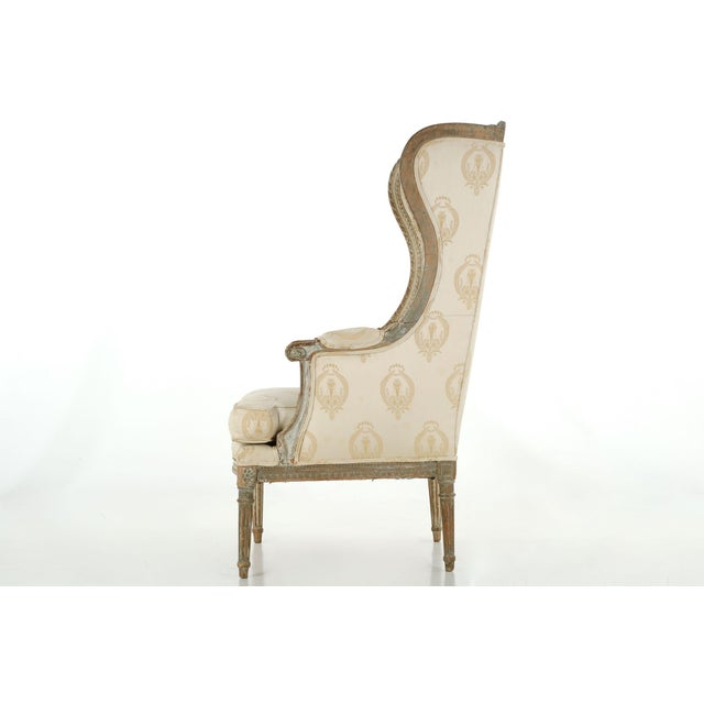 French Louis XVI Distressed Wingback Armchair - Image 11 of 11