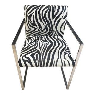 Zebra Print Vinyl Accent Chair