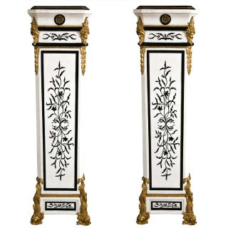 French Empire Style Marble Pedestals - Pair