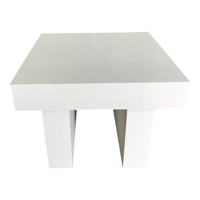 Mod White Laminate Parsons Side Table - Image 1 of 4