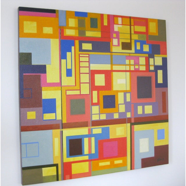"""Homage to the Squares"" Original Oil Painting - Image 3 of 4"