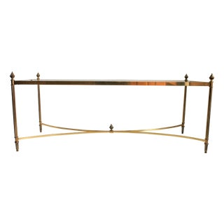 Rectangular Brass & Glass Cocktail Table