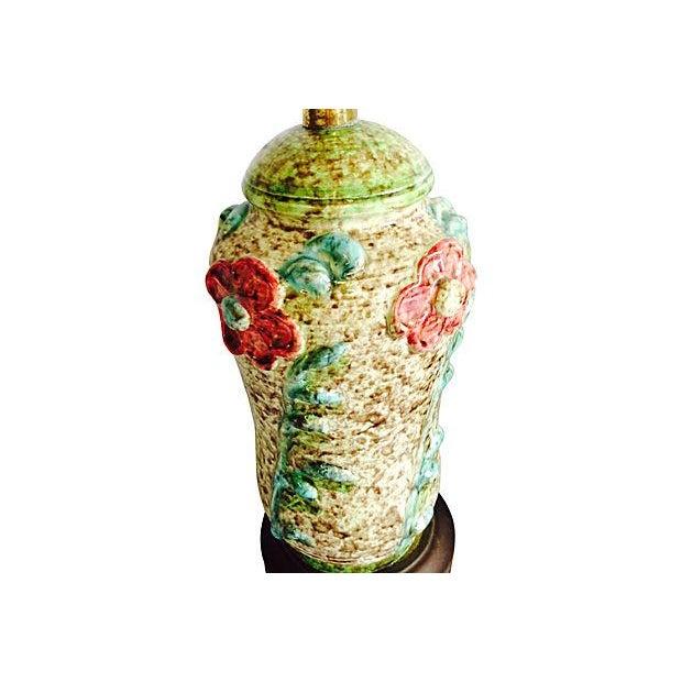 1960s Ceramic Textured Flower Lamps - Pair - Image 5 of 6