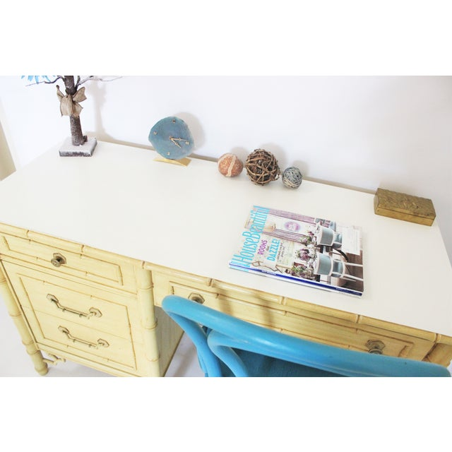 Thomasville Faux Bamboo Desk With Fretwork - Image 5 of 11
