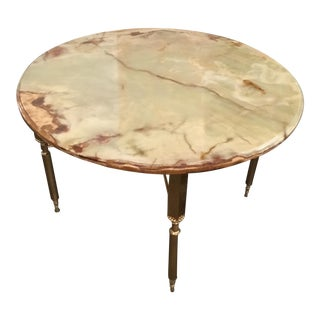 Elegant Neoclassical Maison Jansen Onyx and Brass Side or Cocktail Table