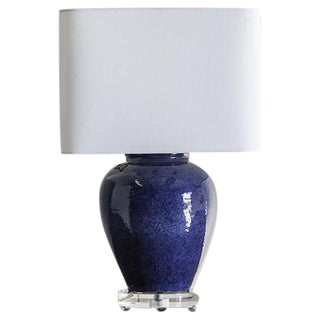 Chinese Lapis Lazuli Blue Vase Repurposed as a Lamp on a Lucite Base
