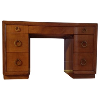 Widdicomb Kneehole t.h. Robsjohn-Gibbings Desk and Protective Glass Top