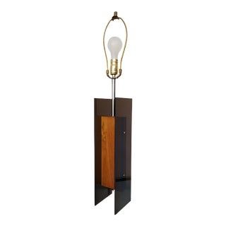 Mid-Century Modern Smoked Acrylic and Walnut Lamp