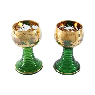 Gold & Emerald Wine Goblets - A Pair