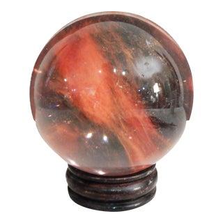Glass Ball on wood Stand