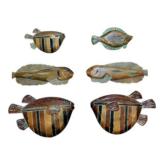 Wood Carved Hand Painted & Stained Fish Folk Art - Set of 6