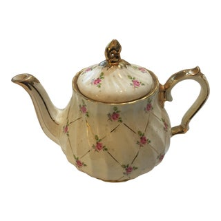 English Sadler Rose Porcelain Teapot & Lid