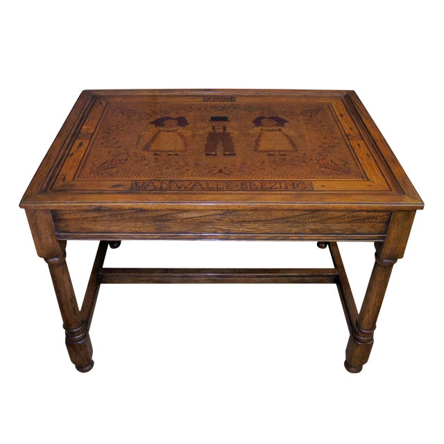 An Alsatian Folk Art Wooden Panel Now Mounted as a Table - Image 1 of 7
