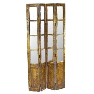 Mid-Century Distressed Finish Panel Screen