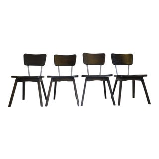 Hickory & Chrome Chairs in Ebony -- Set of 4
