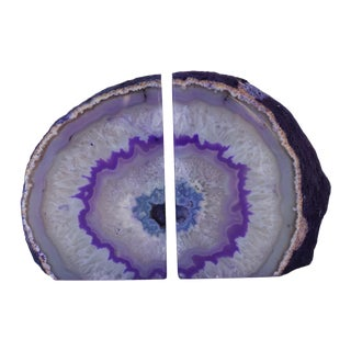 Purple Geode Bookends - A Pair