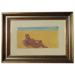 Reclining Male Nude at Beach by Ann Chamberlin