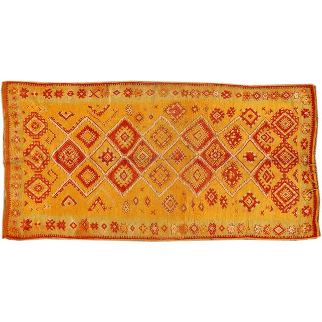 "Image of Apadana Yellow & Orange Moroccan Rug - 4′7″× 8′10"""