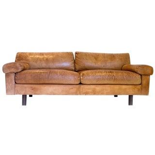 Vintage 1970s Brown Leather Sofa