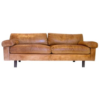 Vintage 1970s Brown Leather Sofa