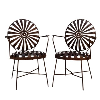 Francois Carre Iron Sunburst Chairs - A Pair