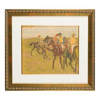 """Circa 1910 Edgar Degas """"Avant La Course"""" Lithograph"""