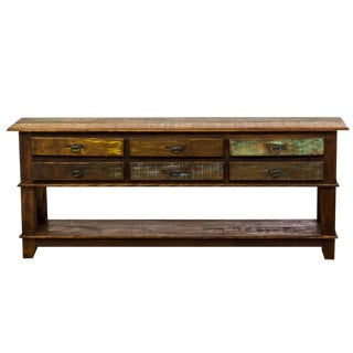 Rustic 6-Drawer Eco-Friendly Reclaimed Solid Wood Console Table