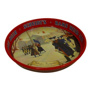 "Vintage Beverage Serving Tray ""Scheidt's Rams Head Ale"" Valley Forge Beer"