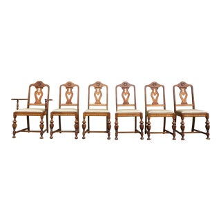 Antique Art Deco Walnut & Satinwood Dining Chairs - Set of 6