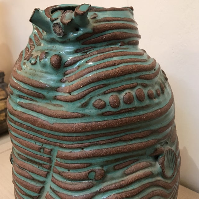 Turquoise Coiled Ceramic Vase - Image 6 of 9