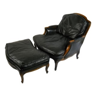 Leather Bergere & Ottoman - Set of 2