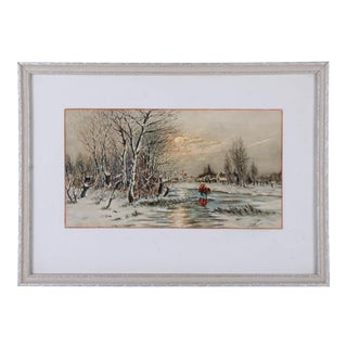 Frank S. Rhines Winter Scene Guache Painting c.1915