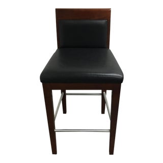 Black Leather & Wood Counter Stool