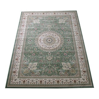 "Traditional Green Medallion Rug - 6'7"" x 9'7"""