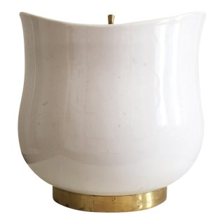 Mid-Century White Ceramic Ice Bucket