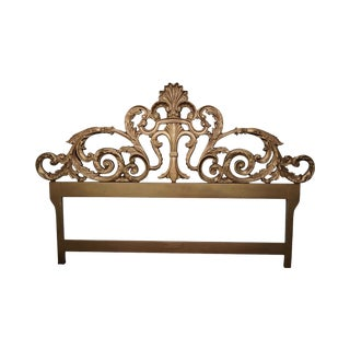 Vintage Gilt Metal Rococo Style King Size Headboard