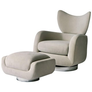 Vladimir Kagan Swivel Lounge Chair and Ottoman