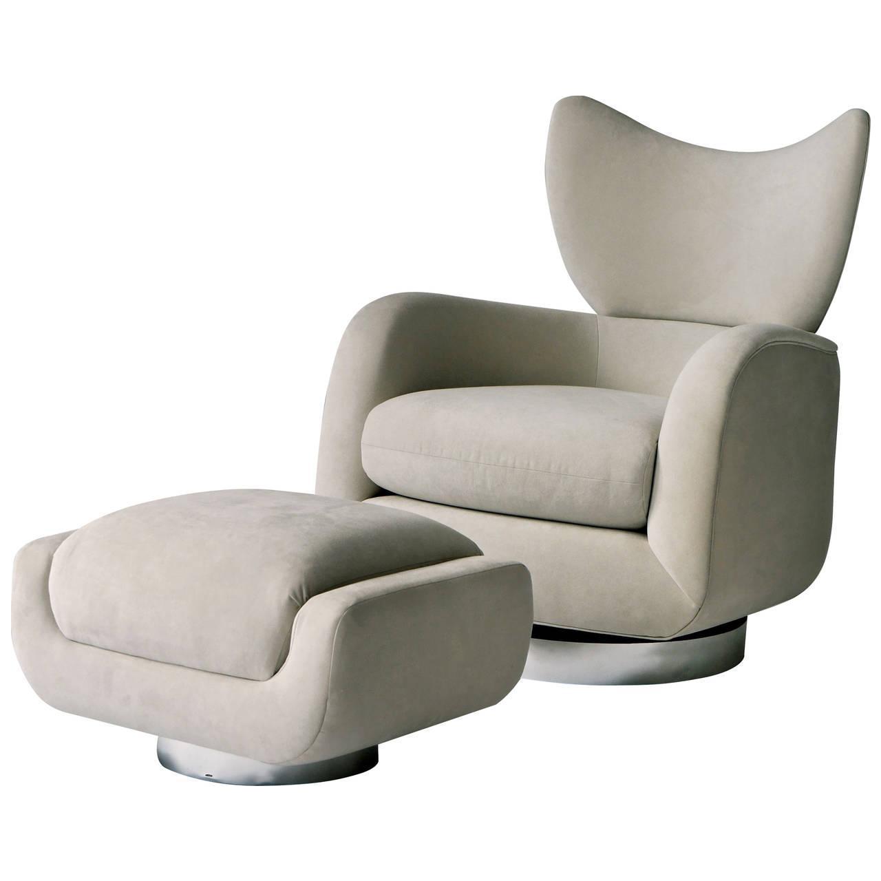 Vladimir Kagan Swivel Lounge Chair And Ottoman