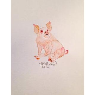 Pink Pig Watercolor