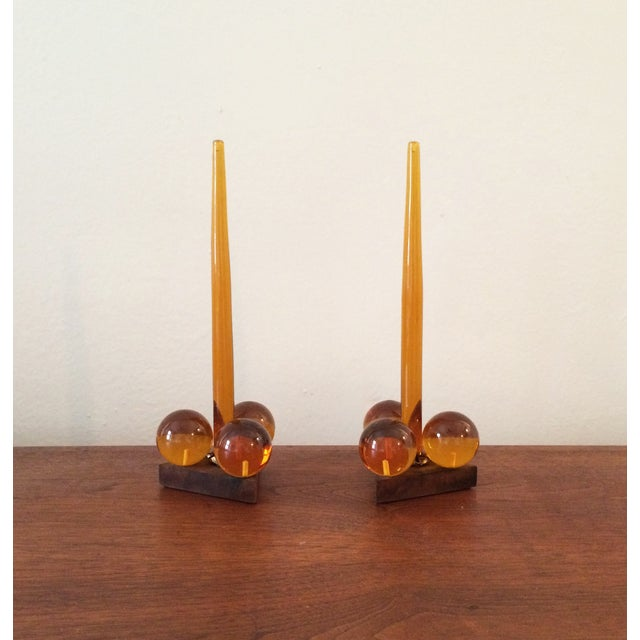 Image of Vintage Amber Resin & Wood Candleholders - A Pair